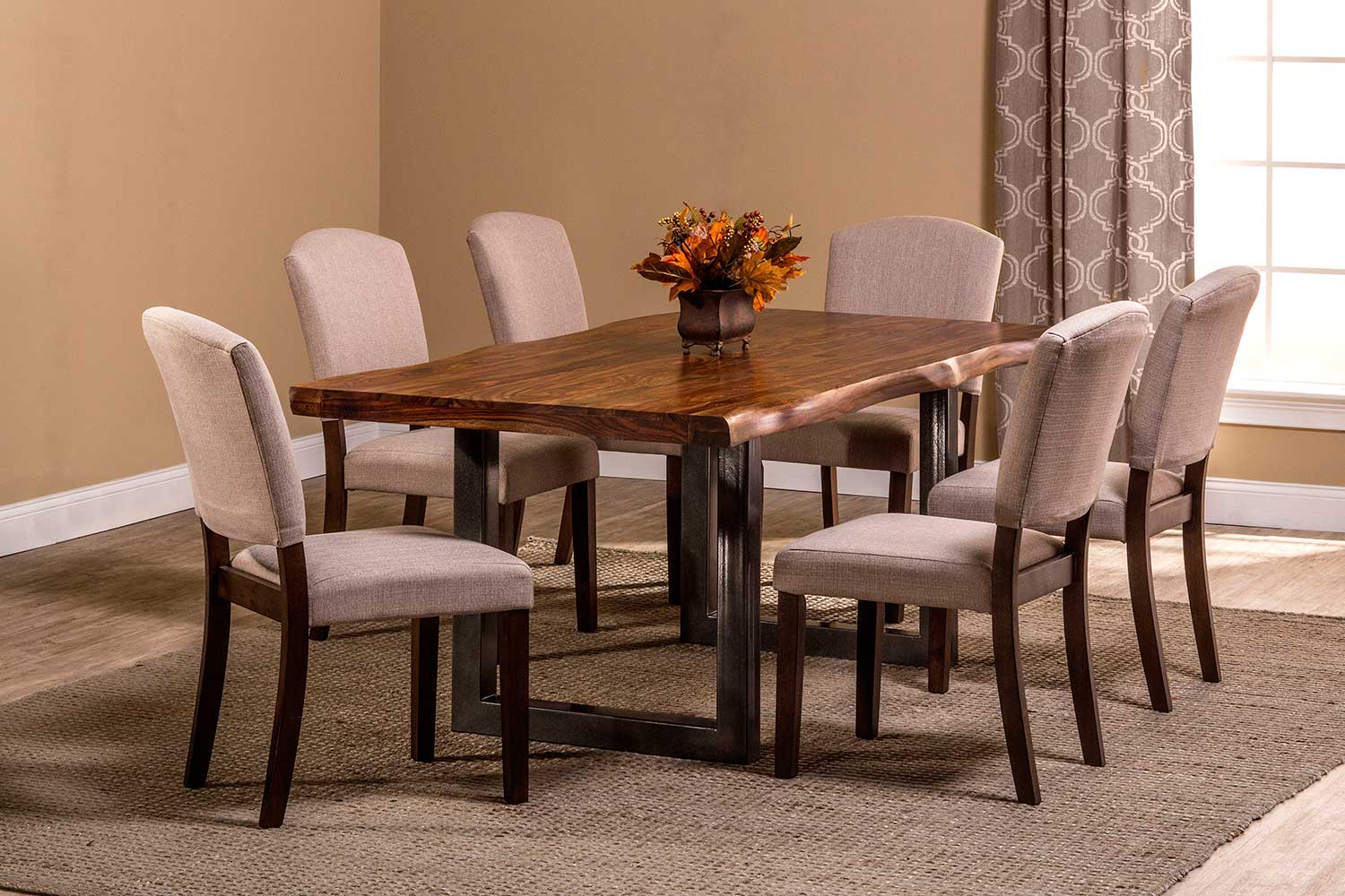Hillsdale Emerson 7-Piece Rectangle Dining Set - Natural Sheesham/Gray Coat/Black