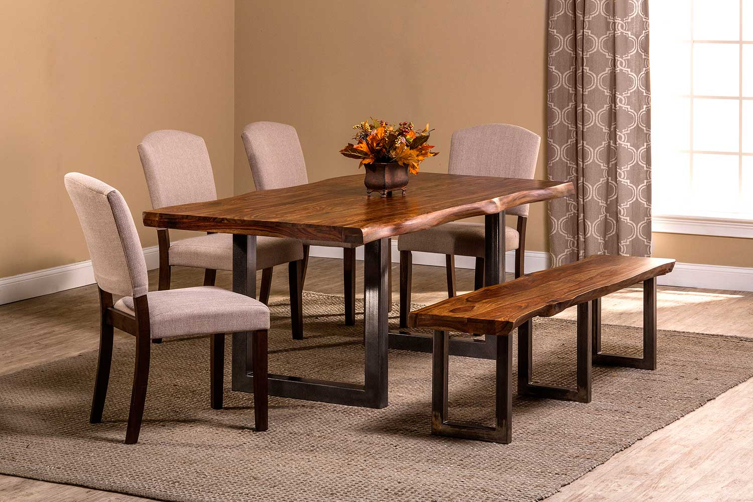 Hillsdale Emerson 6-Piece Rectangle Dining Set - Natural Sheesham/Gray Powder Coat