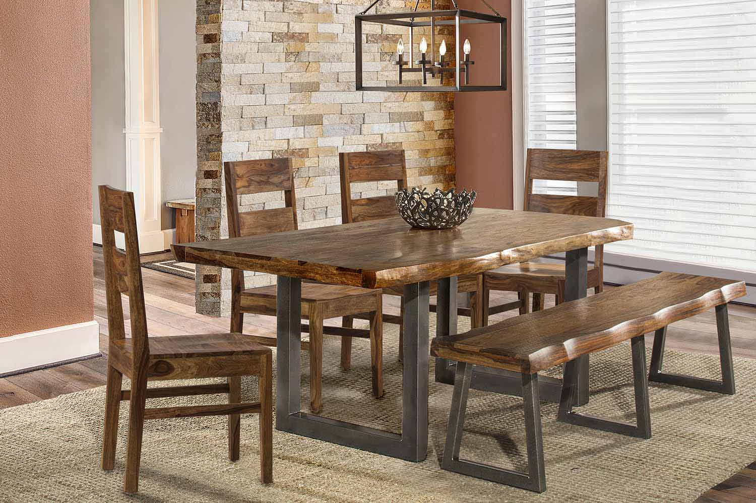 Hillsdale Emerson 6-Piece Rectangle Dining Set with Bench - Natural Sheesham