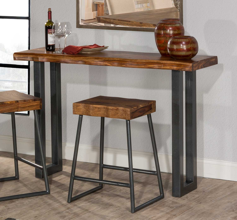 Hillsdale Emerson Sofa Table - Natural Sheesham Wood/Gray Metallic