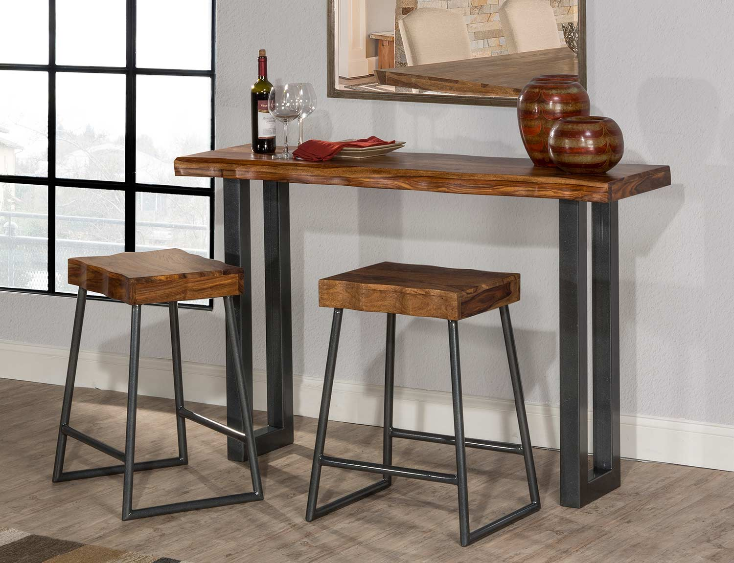 Hillsdale Emerson Sofa Table with Two Non-Swivel Counter Stools - Gray Metallic