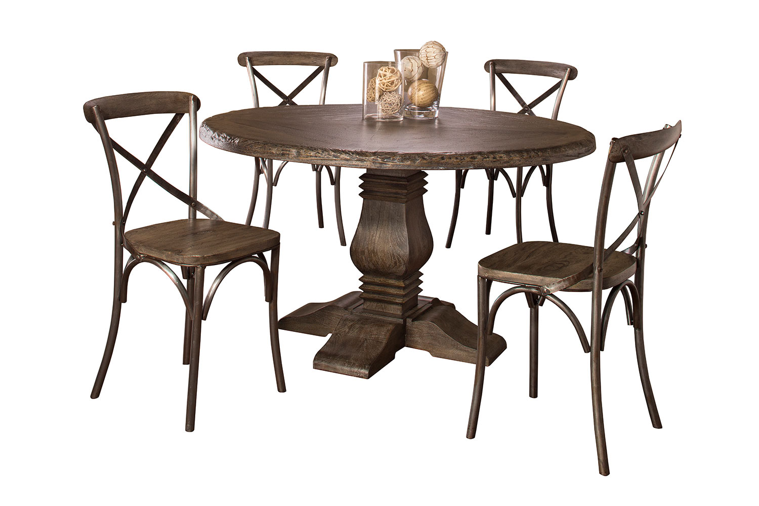 Hillsdale Lorient 5 PC Round Dining Set with X Back Chairs - Washed Charcoal Gray