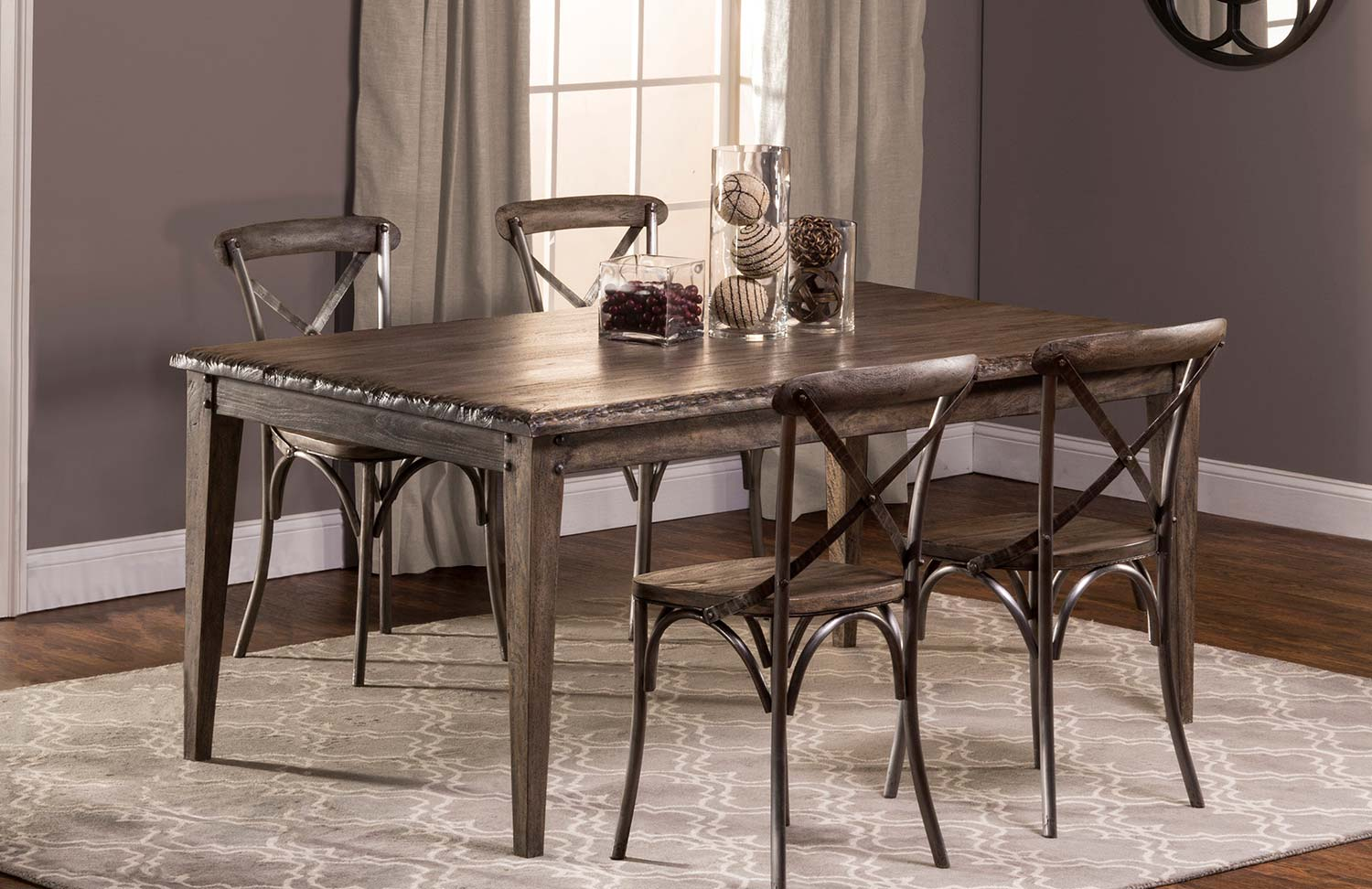 Hillsdale Lorient 5 PC Rectangle Dining Set with X Back Chair - Washed Charcoal Gray/Black