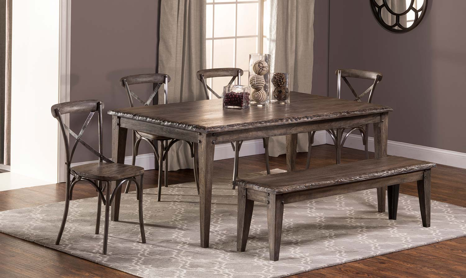Hillsdale Lorient 6 PC Rectangle Dining Set with X Back Chair and Bench - Washed Charcoal Gray/Distressed Black