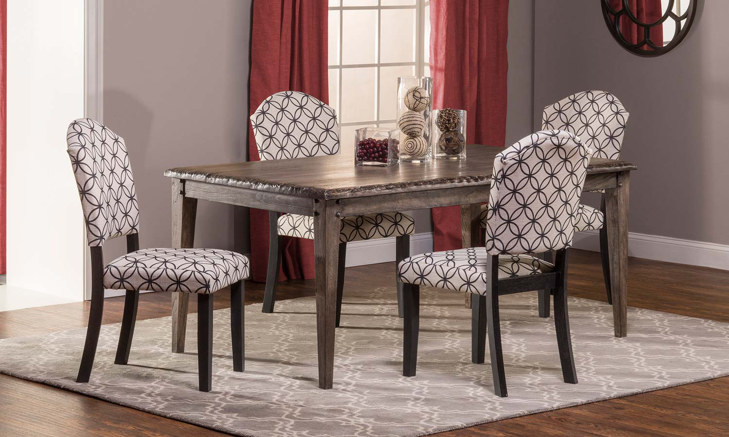 Hillsdale Lorient 5 PC Rectangle Dining Set with Parsons Chair - Washed Charcoal Gray/Black - Bristol Black - Off White with Black Circle Pattern