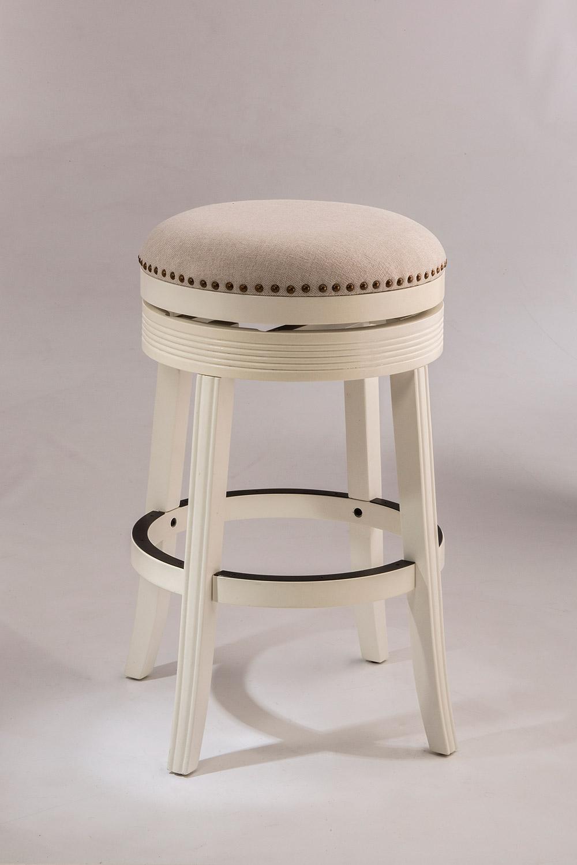 Hillsdale Tillman Backless Swivel Bar Stool - White - Beige Fabric