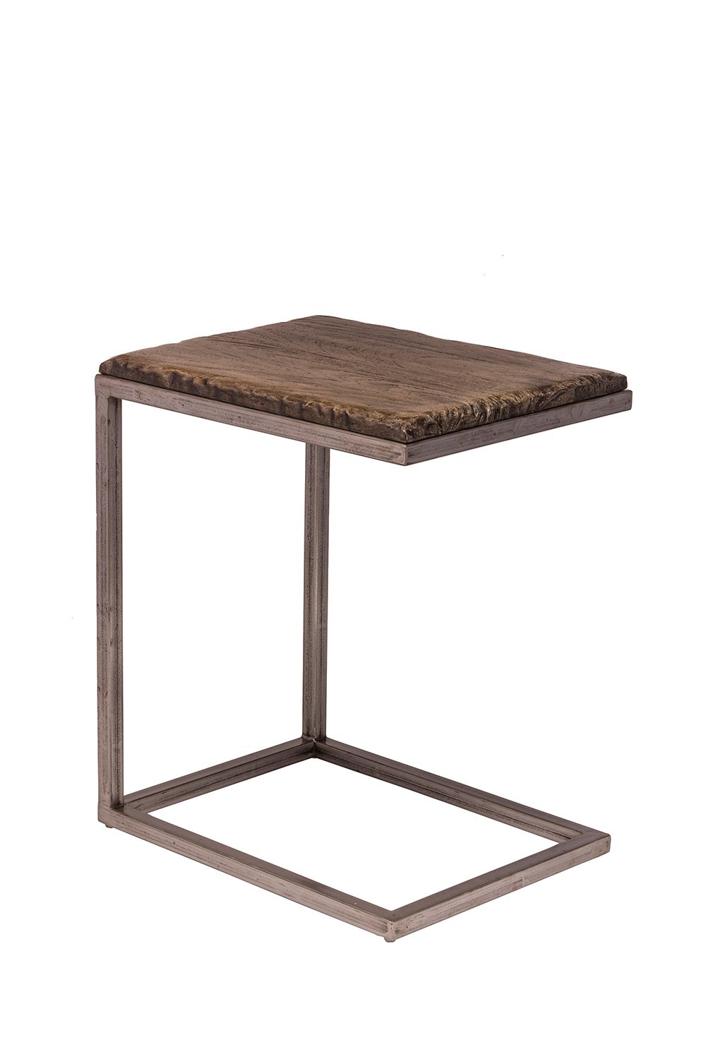 hillsdale lorient c shape accent table washed charcoal gray aged steel metal hd 5731 902 at. Black Bedroom Furniture Sets. Home Design Ideas