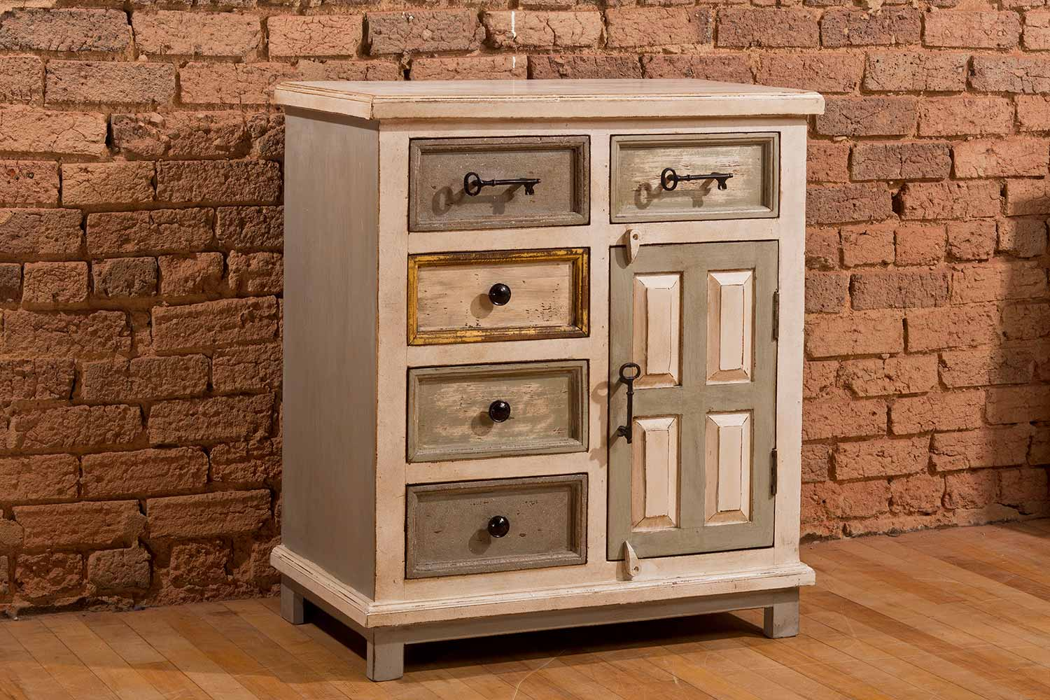 Hillsdale LaRose Five Drawer One Door Cabinet - Dove Gray/Antique White