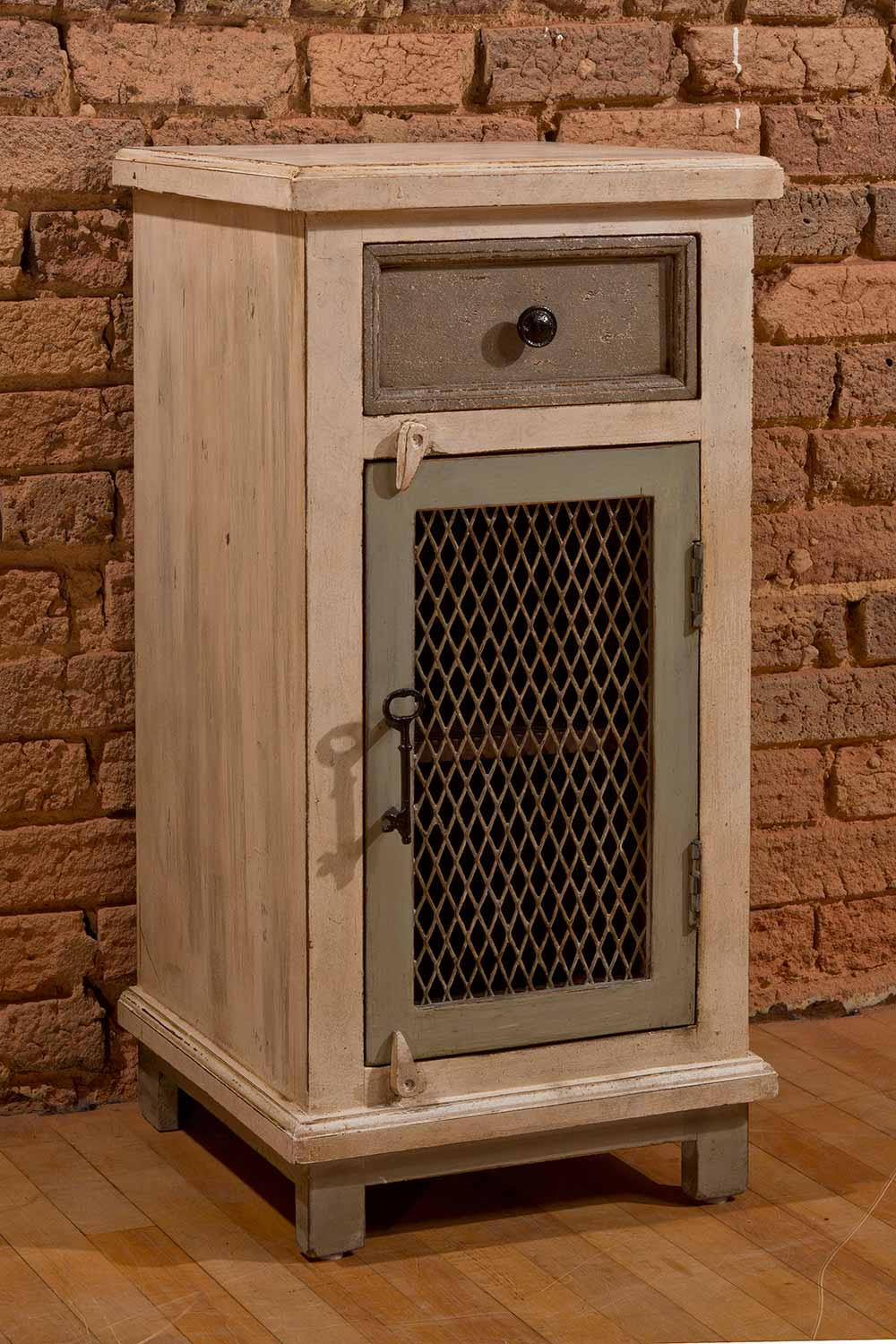Hillsdale LaRose One Drawer One Door Cabinet with Chicken Wire - Dover Gray/White