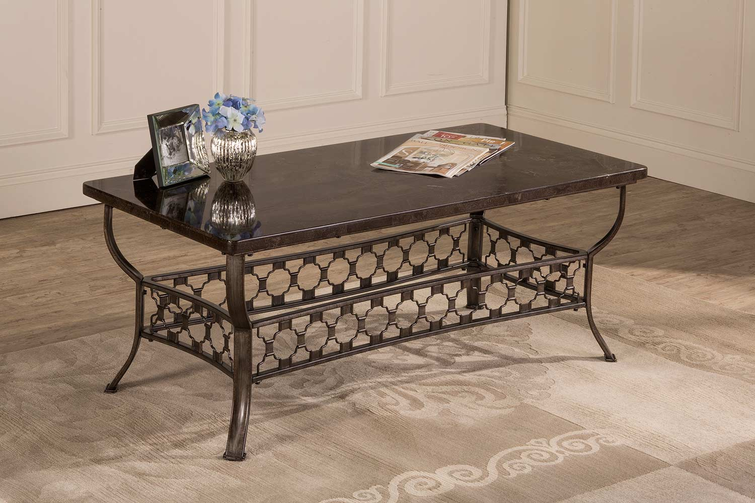 Hillsdale brescello rectangle coffee table charcoal blue for Charcoal coffee table