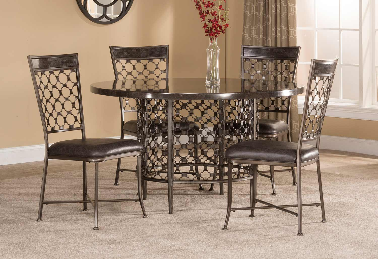 Hillsdale Brescello 5-Piece Round Dining Set - Charcoal/Blue Stone