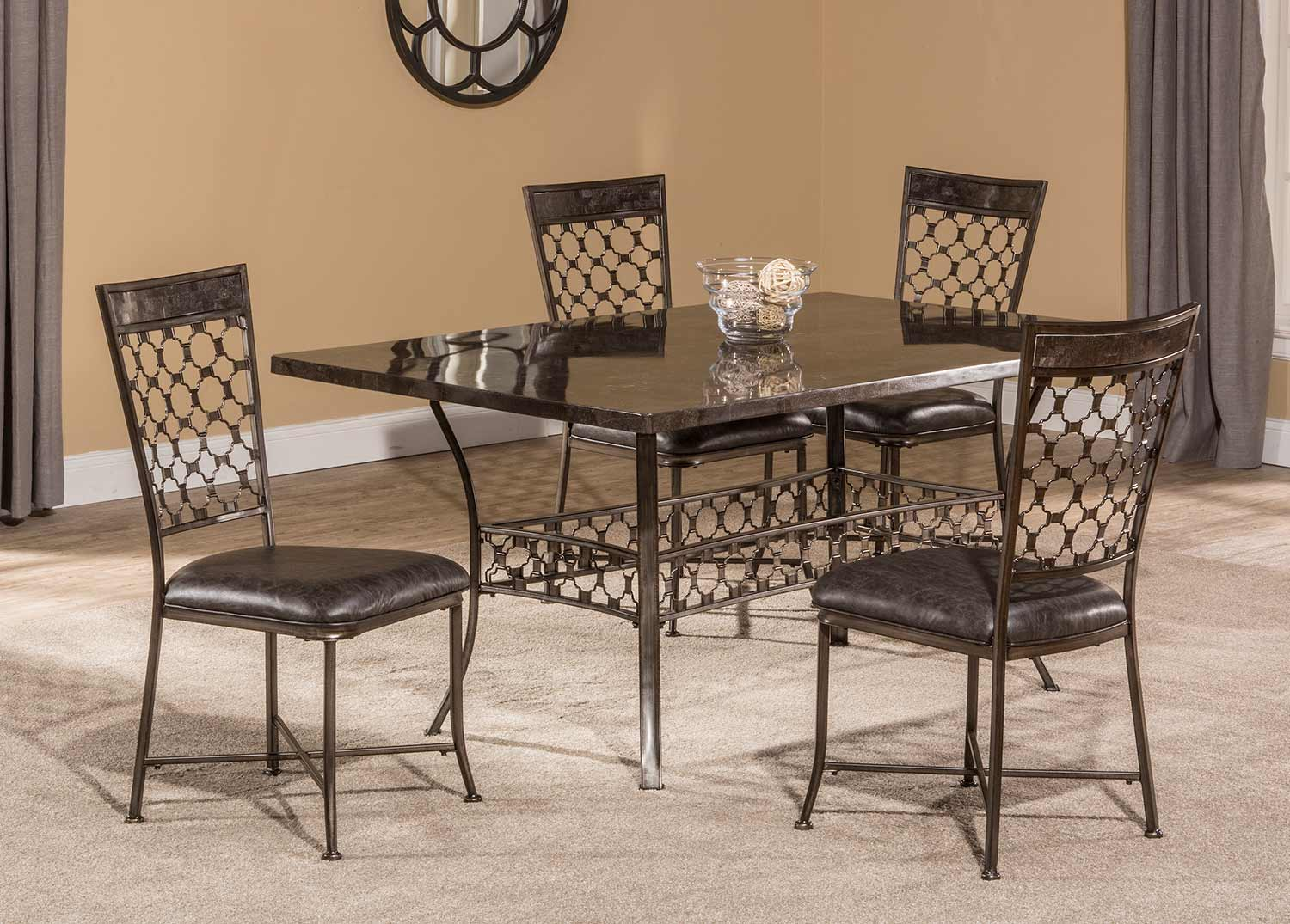 Hillsdale Brescello 5-Piece Rectangle Dining Set - Charcoal/Blue Stone