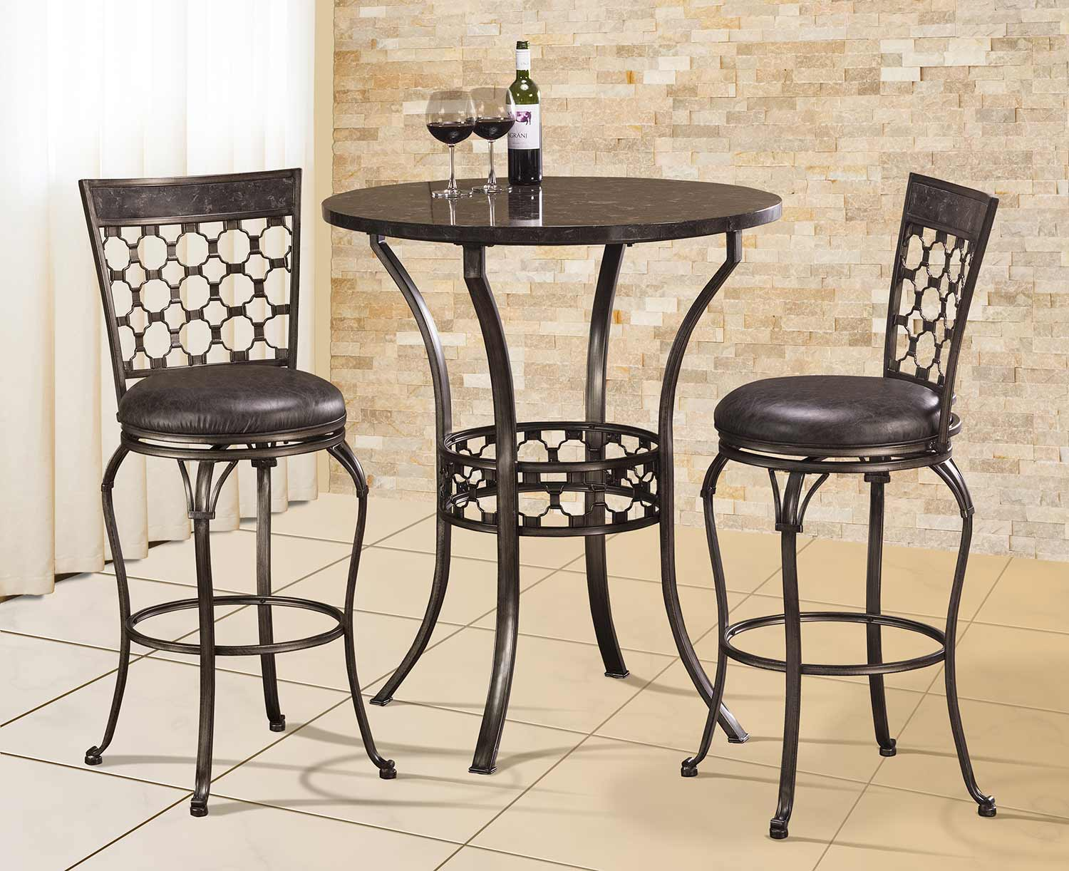 Hillsdale Brescello 3-Piece Bar Height Bistro Dining Set - Antique Pewter/Blue Stone