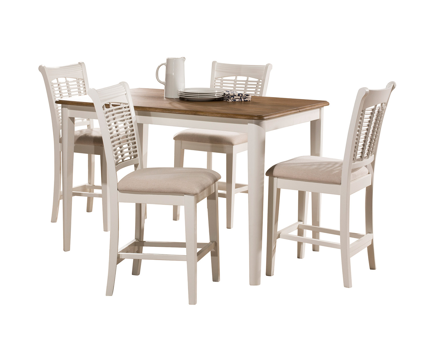 Hillsdale Bayberry 5-Piece Counter Height Dining Set - White/Driftwood