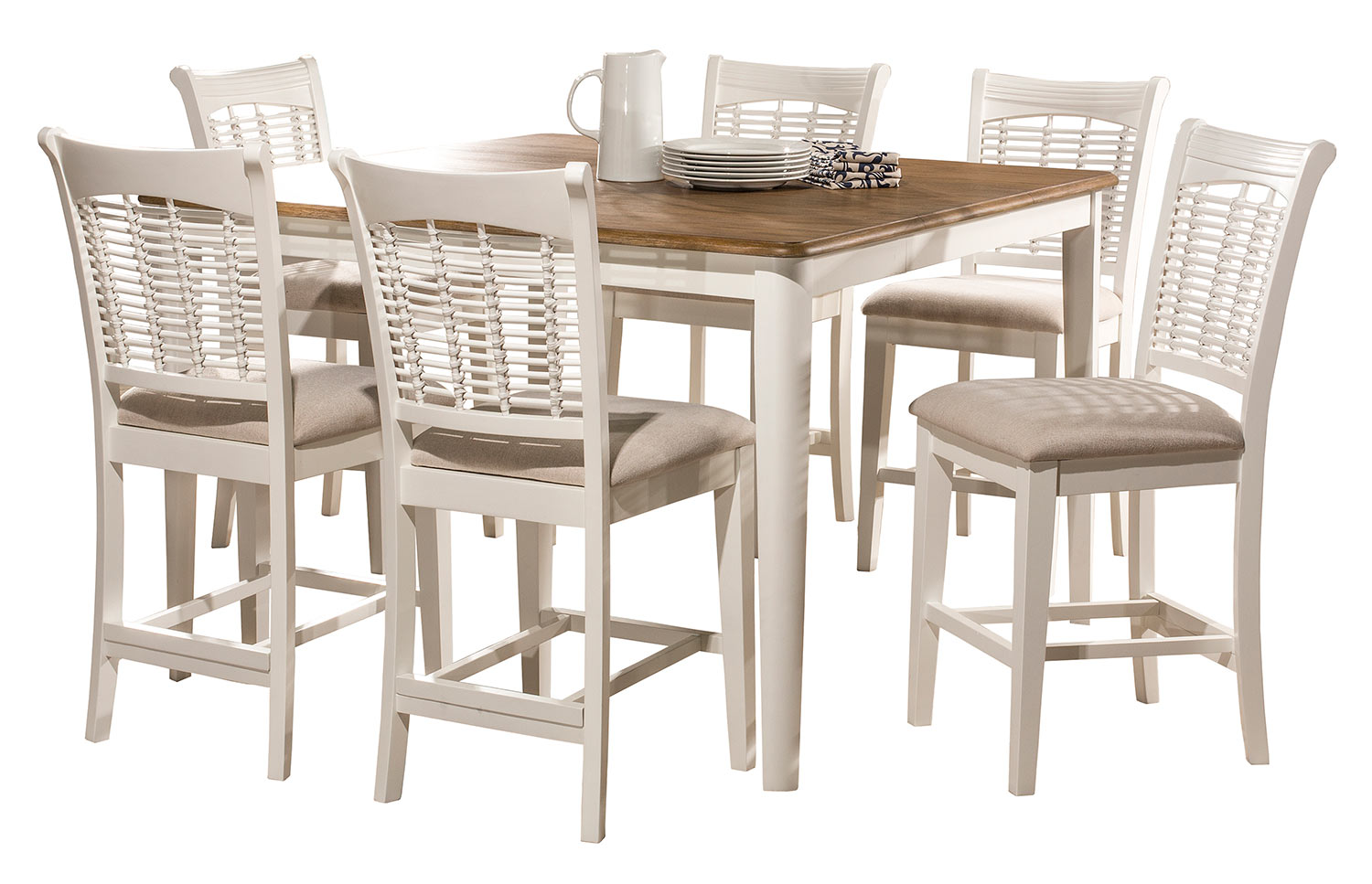 Hillsdale Bayberry 7-Piece Counter Height Dining Set - White/Driftwood