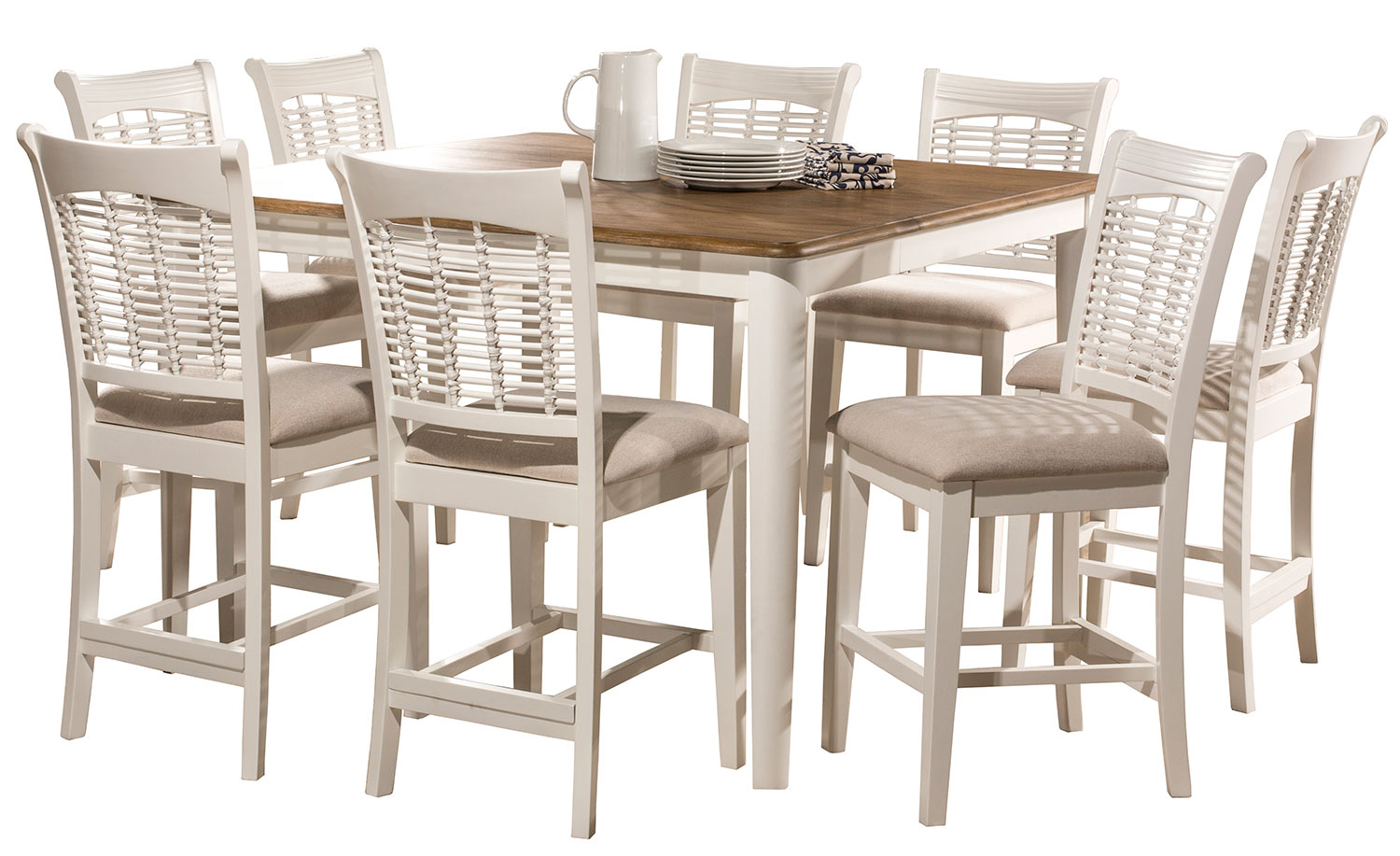 Hillsdale Bayberry 9-Piece Counter Height Dining Set - White/Driftwood