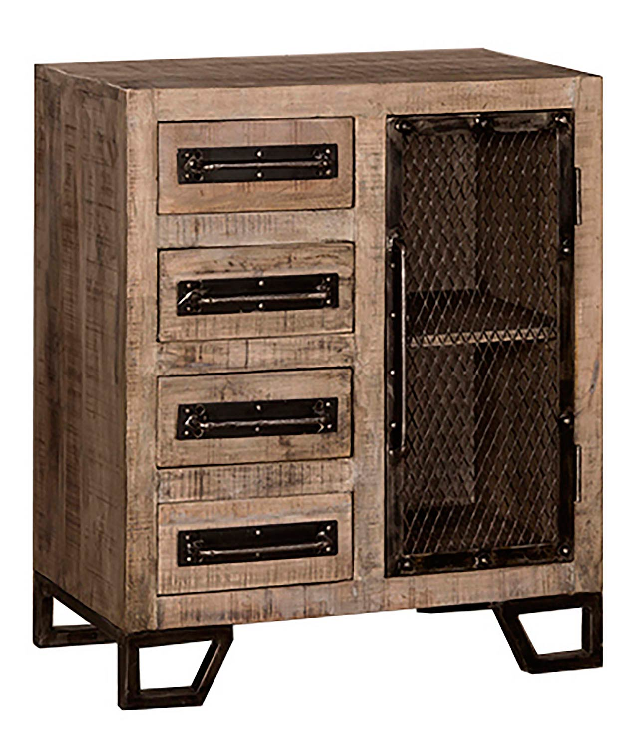 Hillsdale Bridgewater Cabinet with Four Drawer/One Door with Chicken Wire - Tan Wood/Black Metal