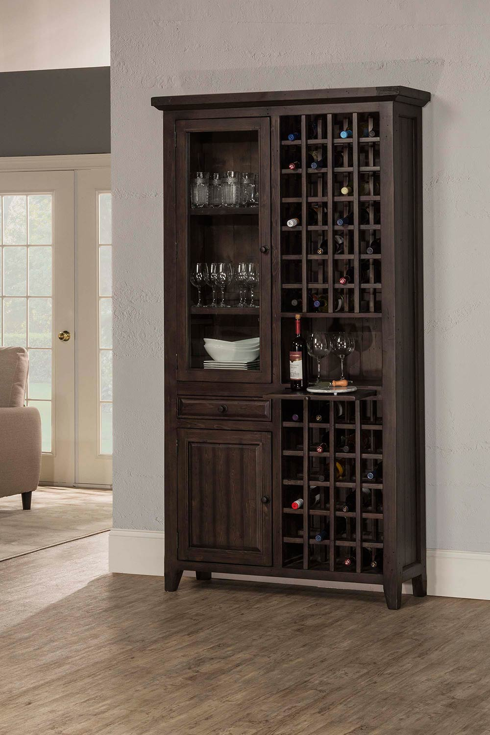 Hillsdale Tuscan Retreat Tall Wine Storage - Weathered Gray