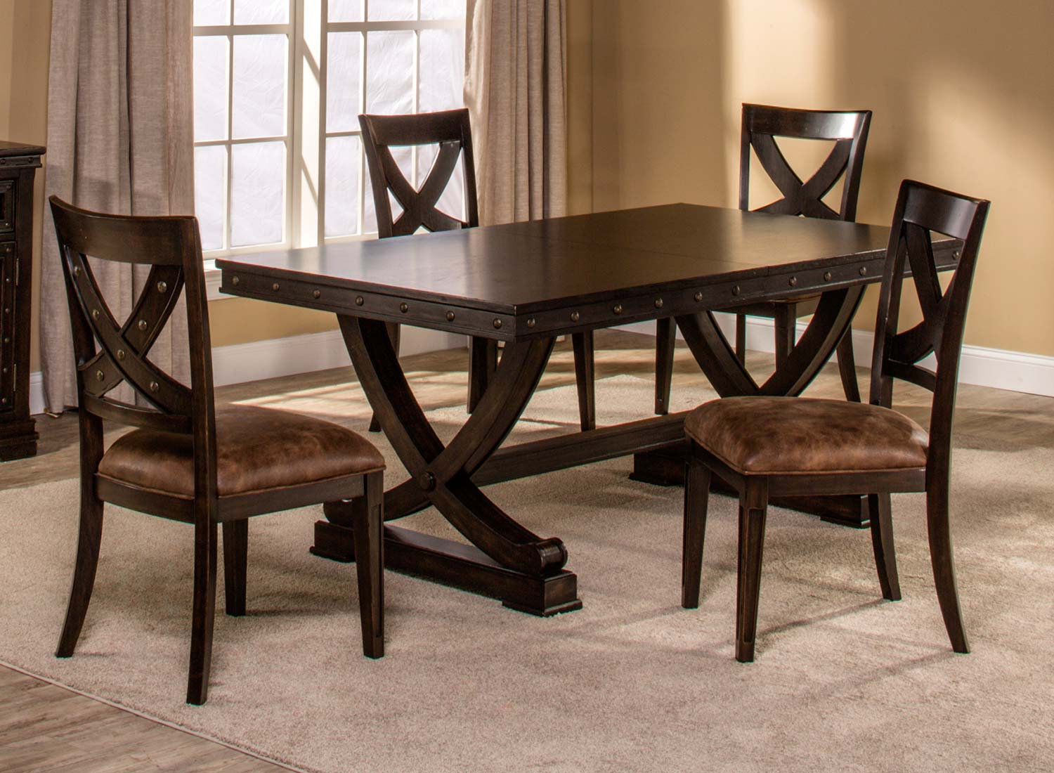 Hillsdale Santa Fe 5-Piece Trestle Dining Set - Distressed Espresso