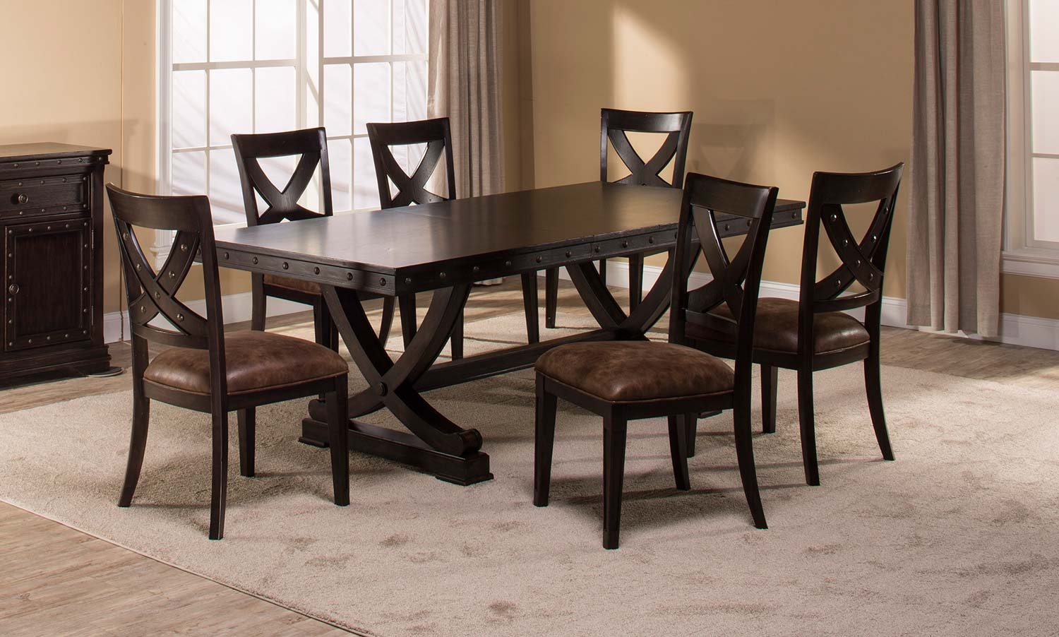 Hillsdale Santa Fe 7-Piece Trestle Dining Set - Distressed Espresso
