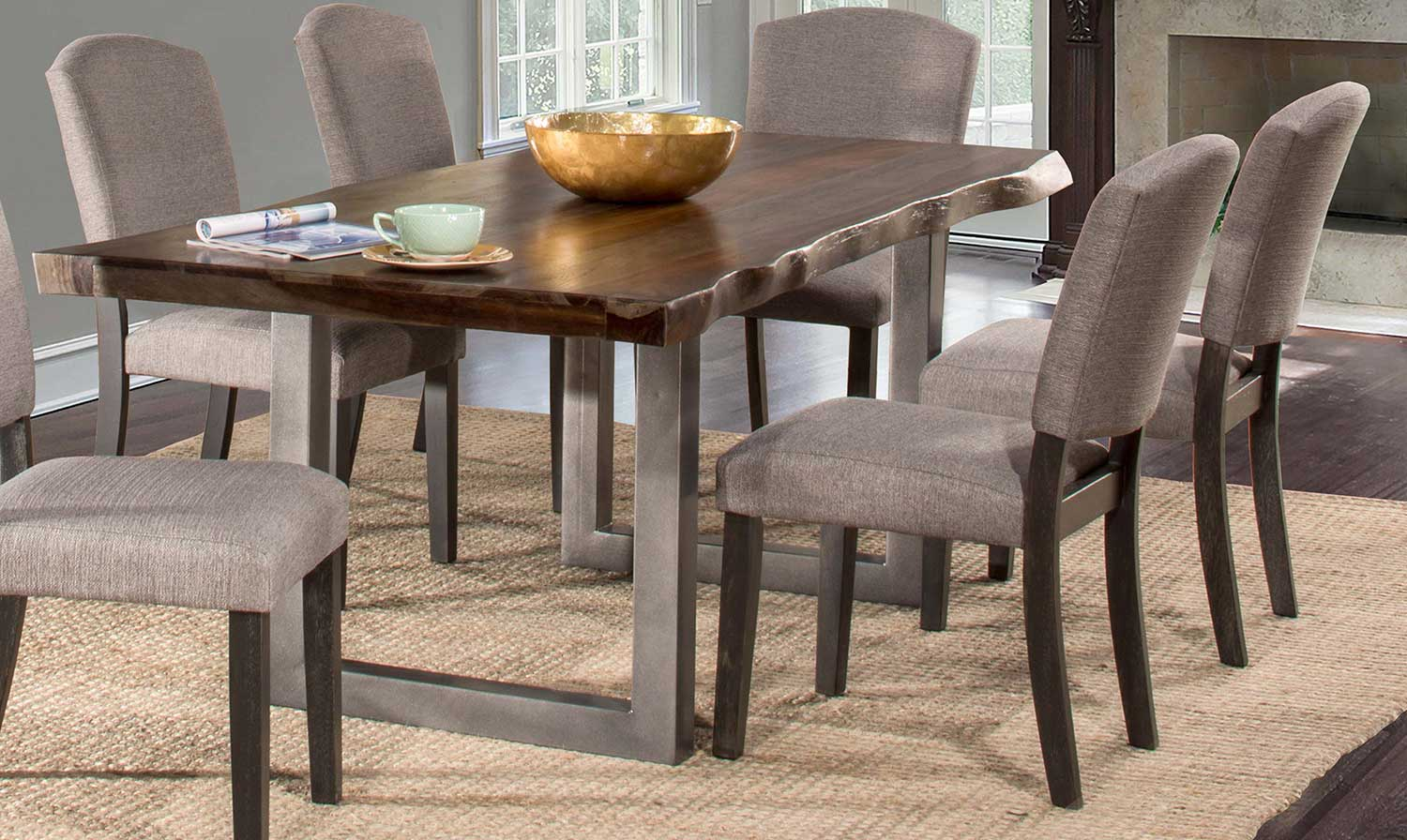Hillsdale Emerson 5-Piece Rectangle Dining Set - Gray Sheesham/Gray Powder
