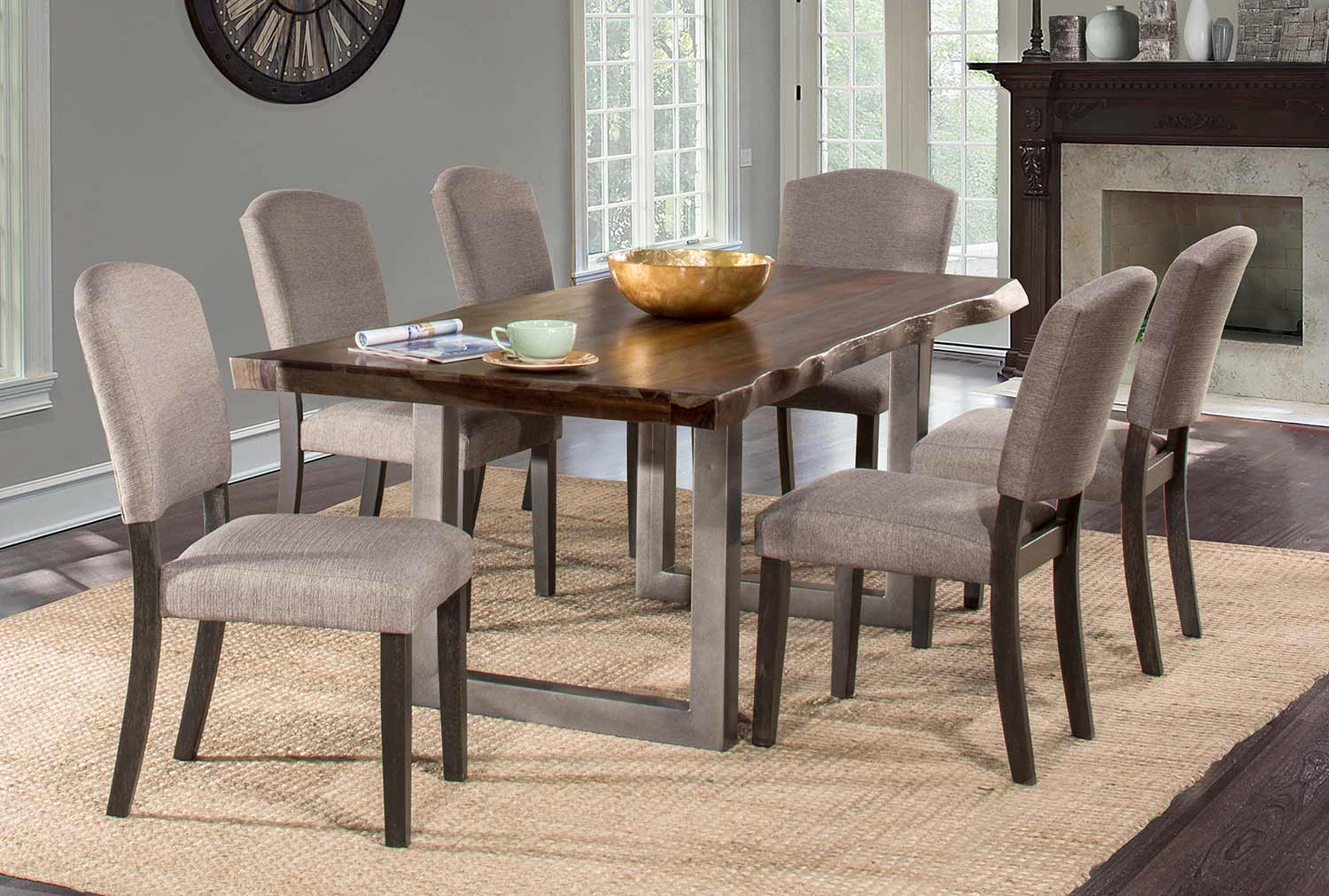 Hillsdale Emerson 7-Piece Rectangle Dining Set - Gray Sheesham/Gray Powder