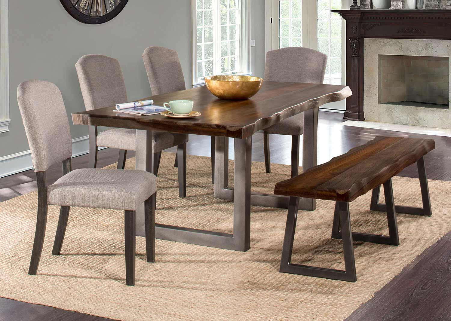 Hillsdale Emerson 6-Piece Rectangle Dining Set with One Bench and Four Chairs - Gray Sheesham