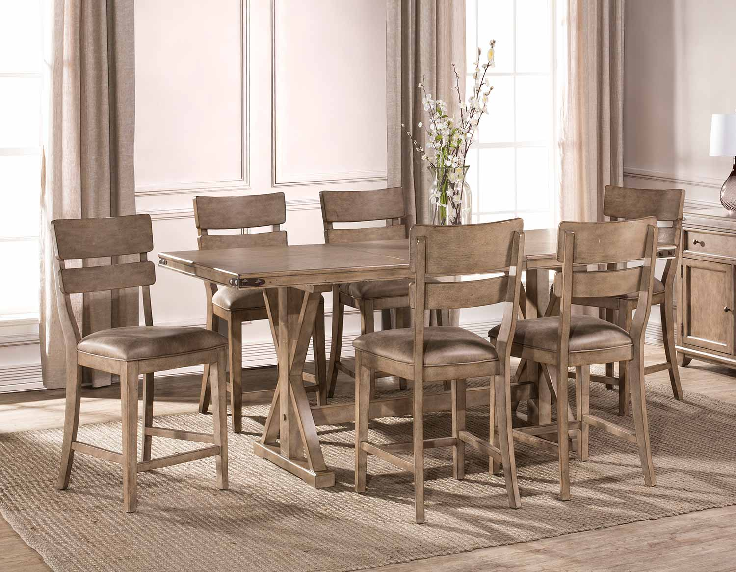 Hillsdale Leclair 7-Piece Counter Height Dining Set - Vintage Grey