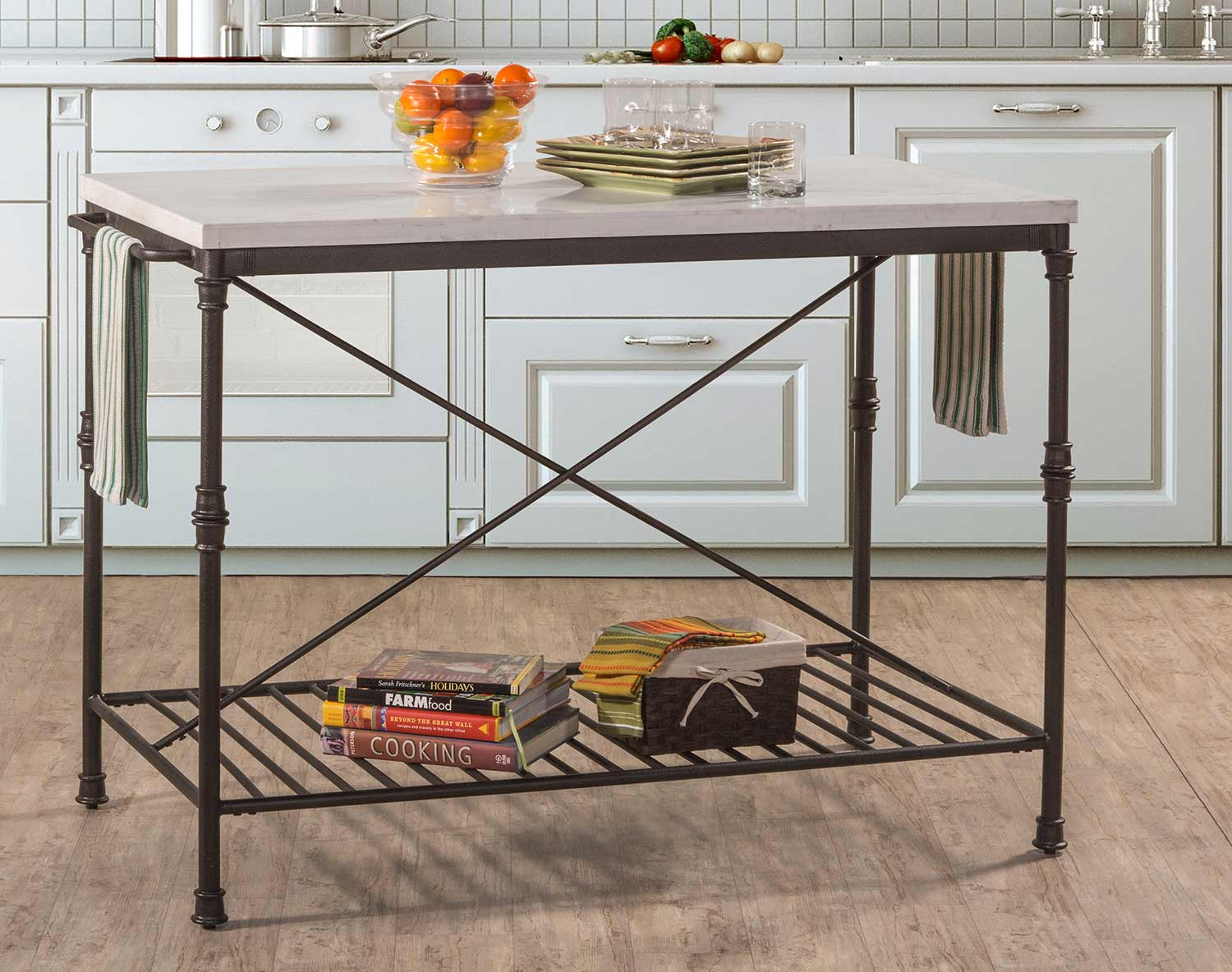 Hillsdale Castille Metal Kitchen Island Textured Black