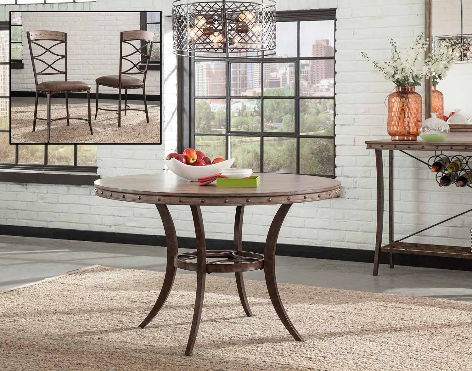 Hillsdale Emmons Dining Set with Round Table - Washed Gray