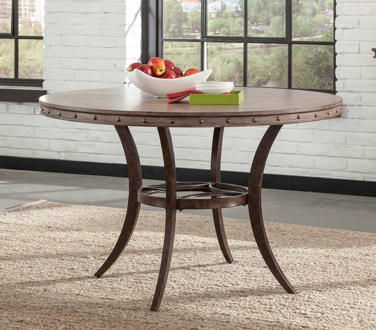 Hillsdale Emmons Round Dining Table - Washed Gray