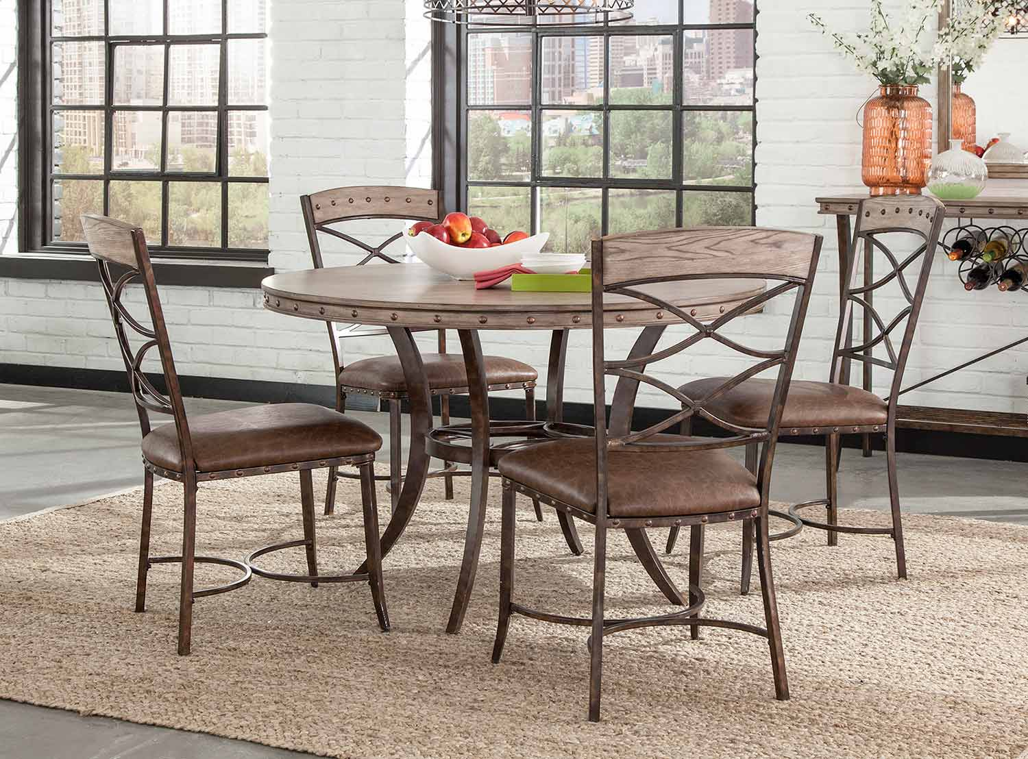 Hillsdale Emmons 5-Piece Round Dining Set - Washed Gray