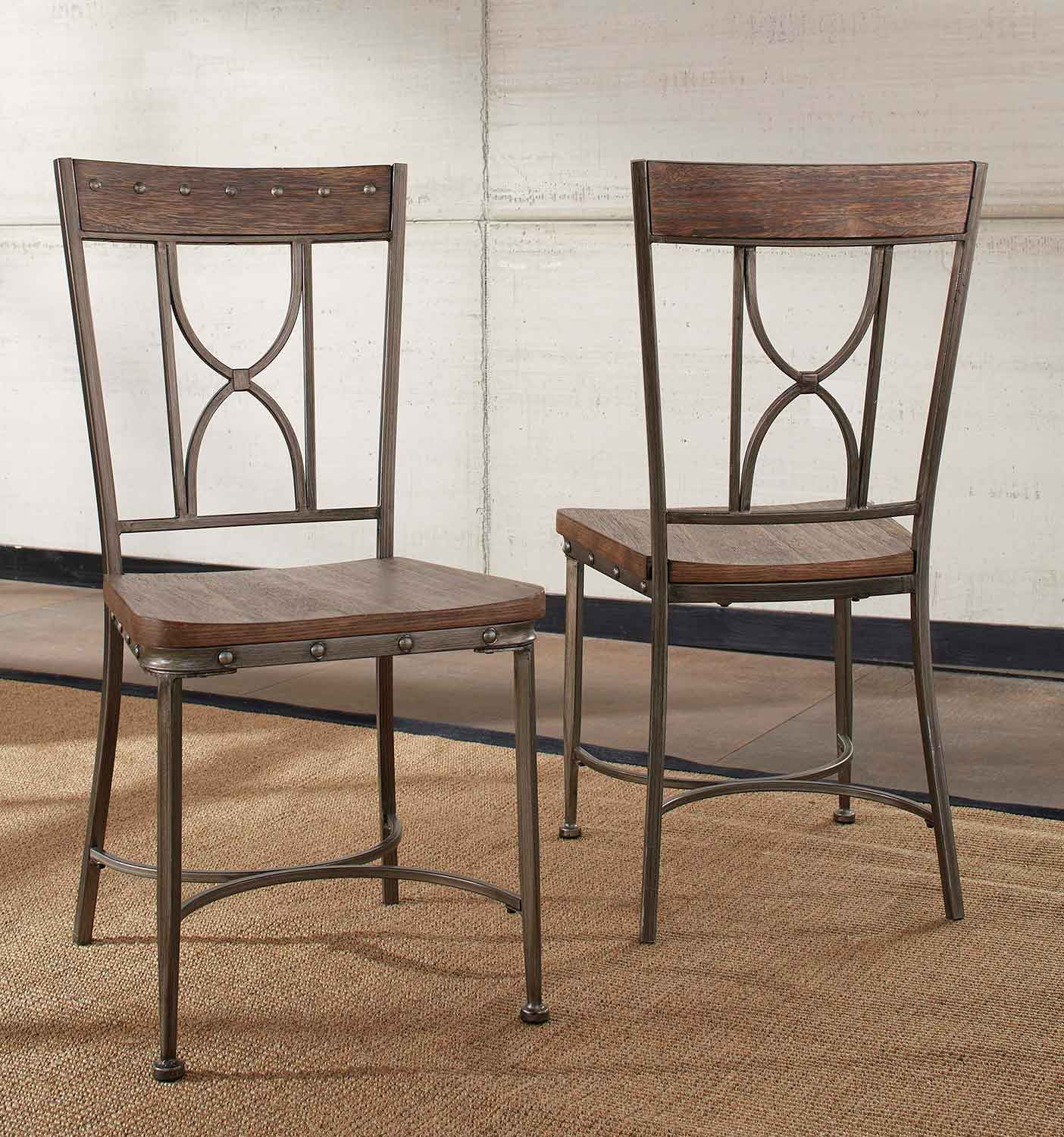 Hillsdale Paddock Dining Chair - Brushed Steel Metal/Distressed Brown