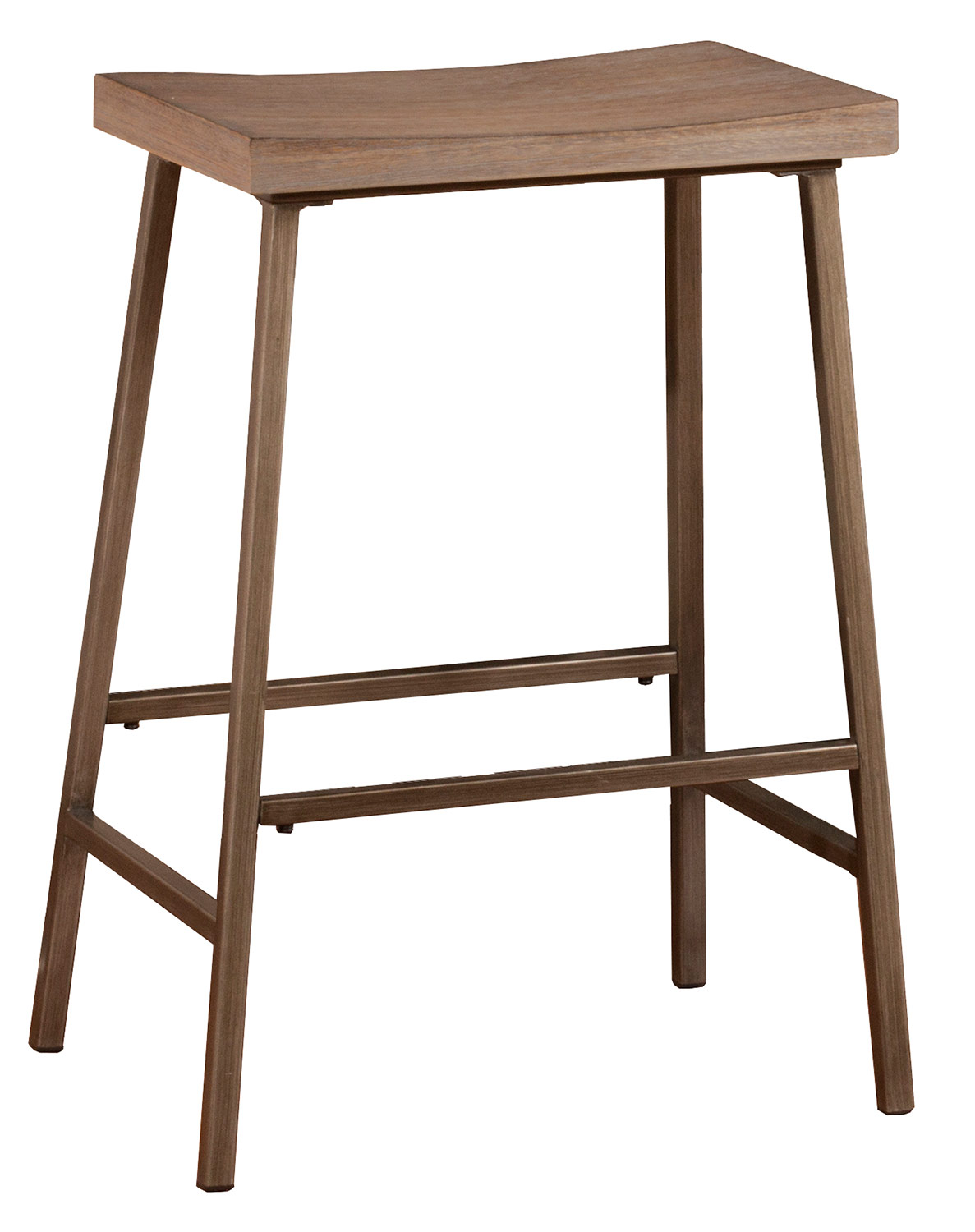 Hillsdale Kennon Backless Non-Swivel Counter Stool - Brown Metal/Distressed Brown Gray Finished Top