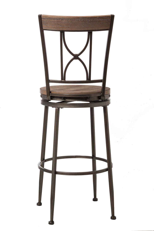 Hillsdale Paddock Swivel Bar Stool - Brushed Steel Metal/Distressed Brown
