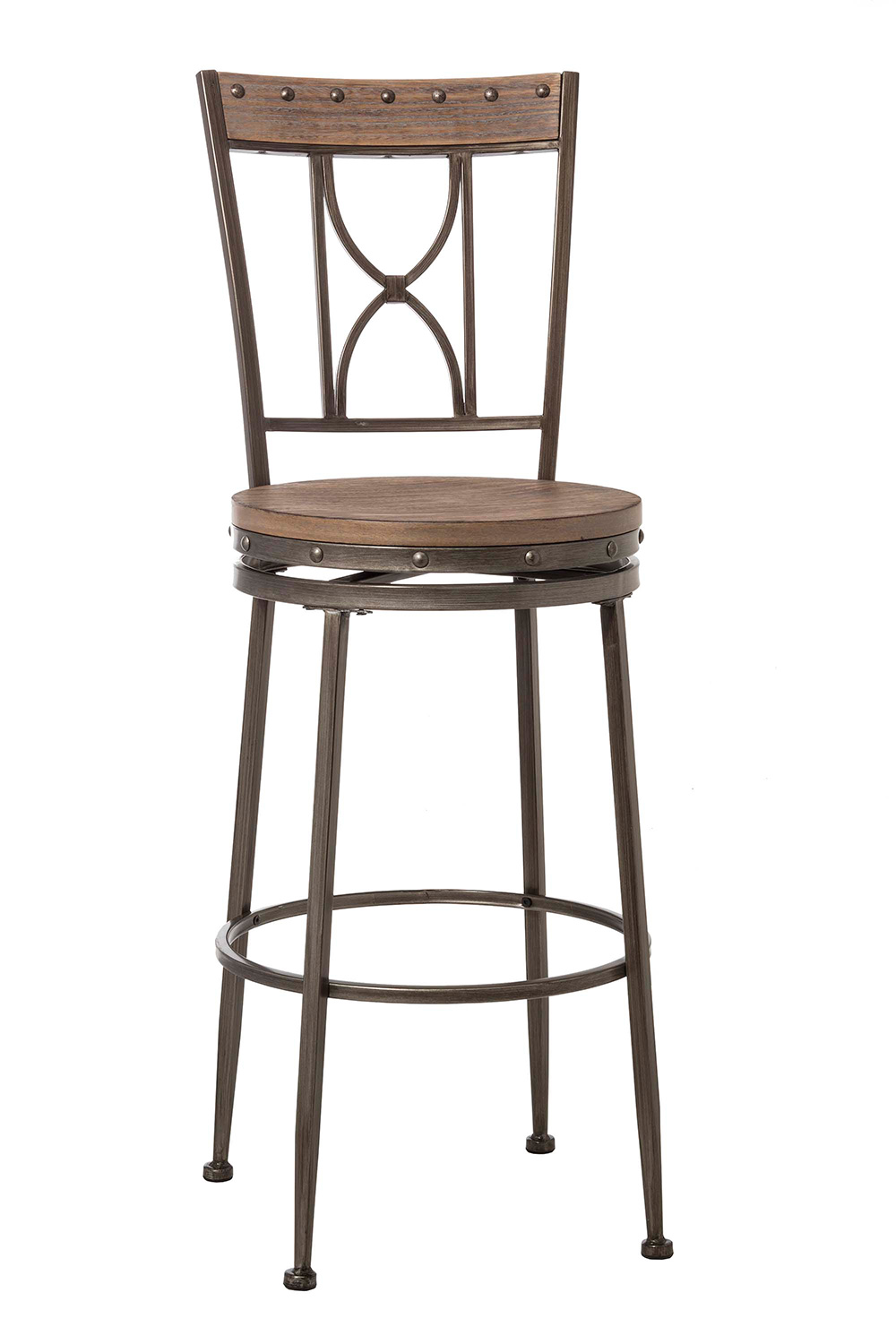 Hillsdale Paddock Swivel Bar Stool - Brushed Steel Metal/Distressed Brown