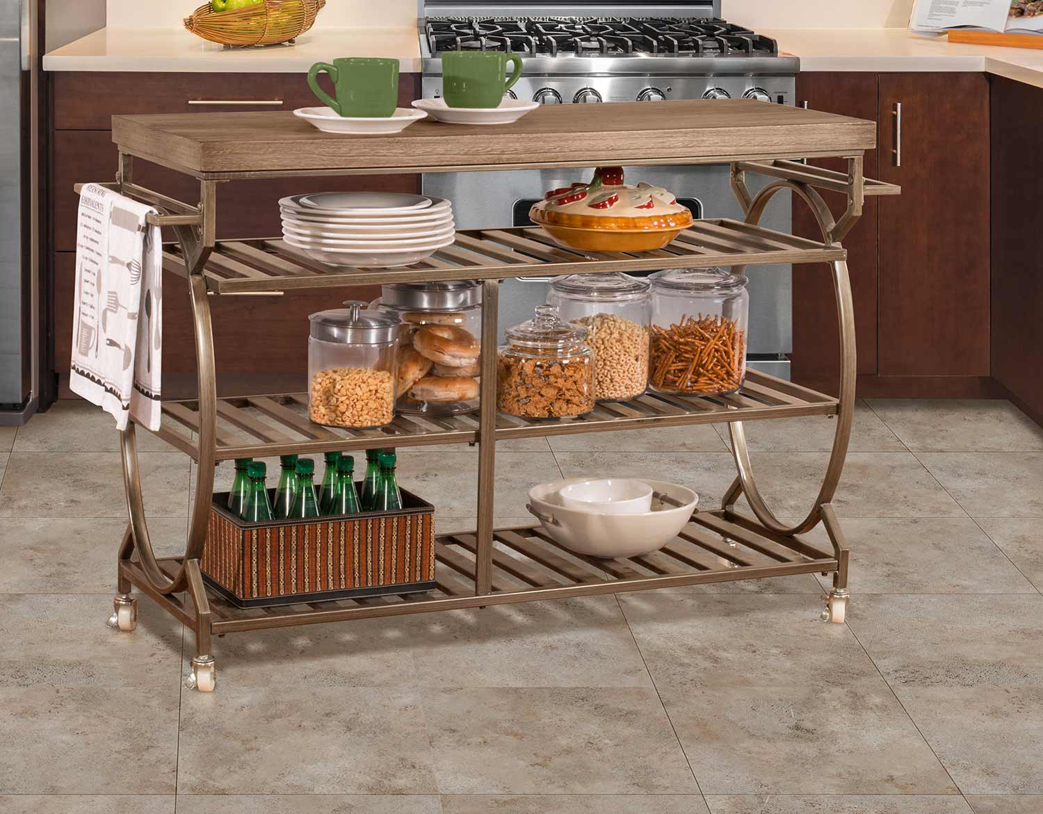 Hillsdale Paddock Kitchen Cart - Brown Metal/Distressed Brown Gray Finished Top
