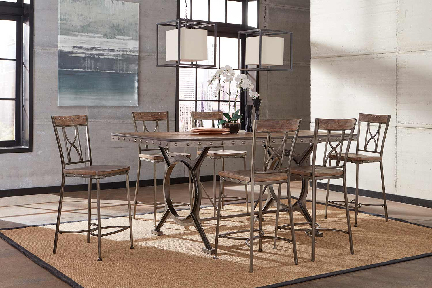 Hillsdale Paddock Counter Height Dining Set - Brushed Steel Metal/Distressed Brown