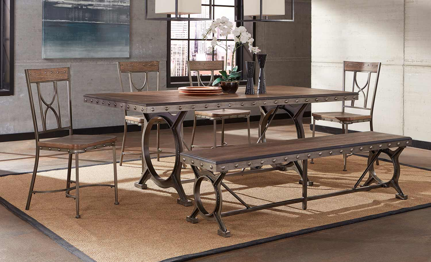 Hillsdale Paddock Dining Set - Brushed Steel Metal/Distressed Brown