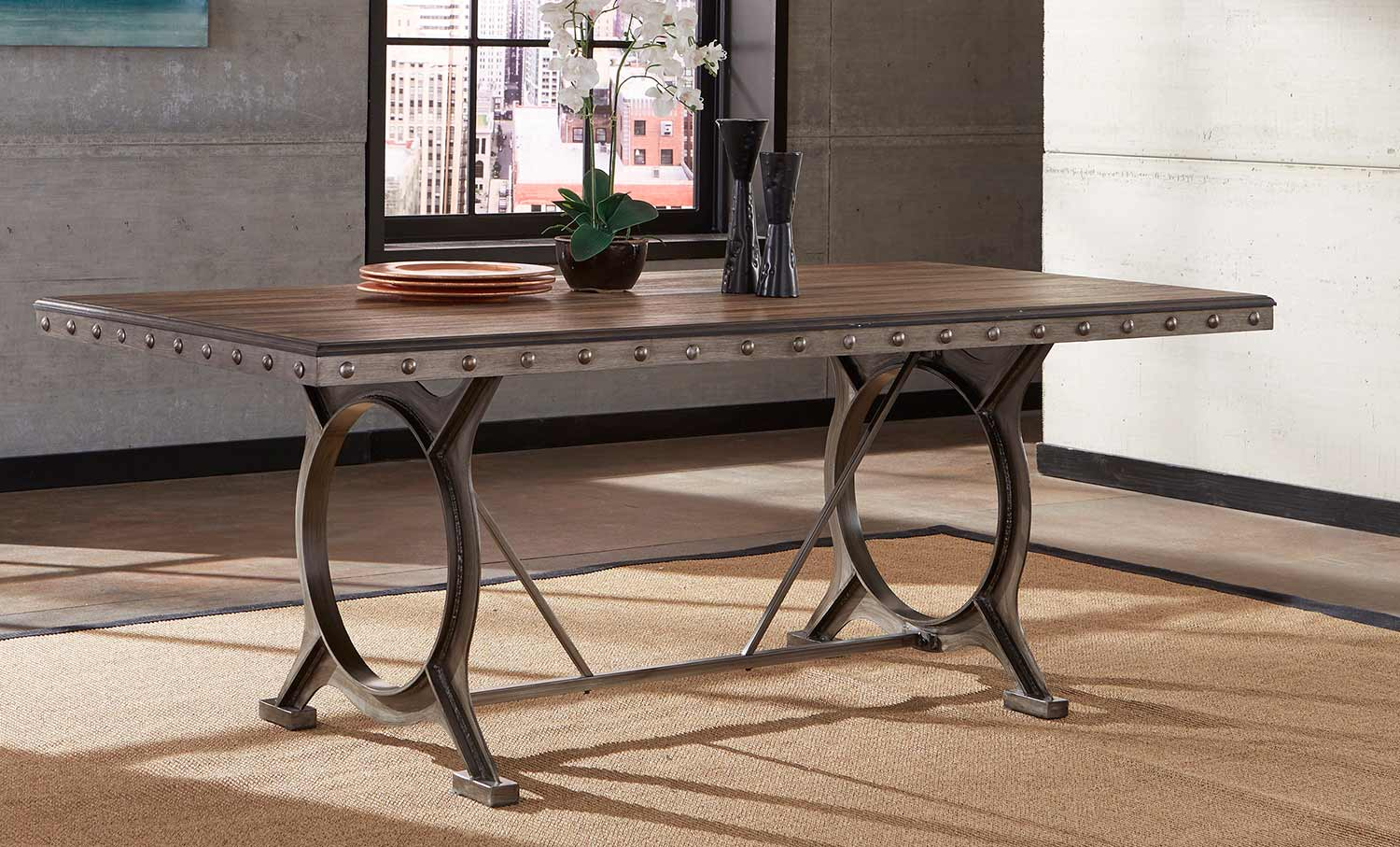 Hillsdale Paddock Rectangle Dining Table - Brushed Steel Metal/Distressed Brown