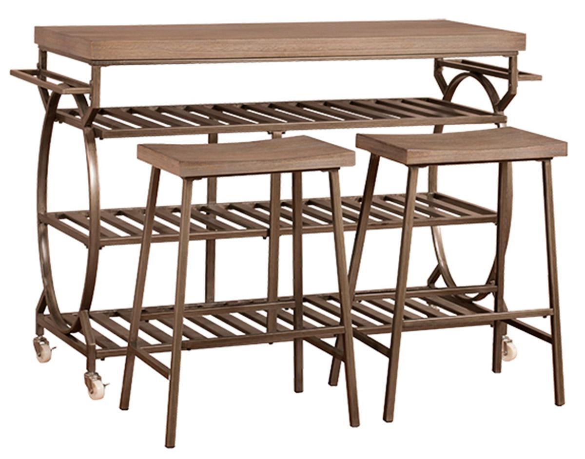 Hillsdale Paddock 3 Piece Kitchen Cart Set with 2 Kennon Stools - Steel Metal/Brown-Gray