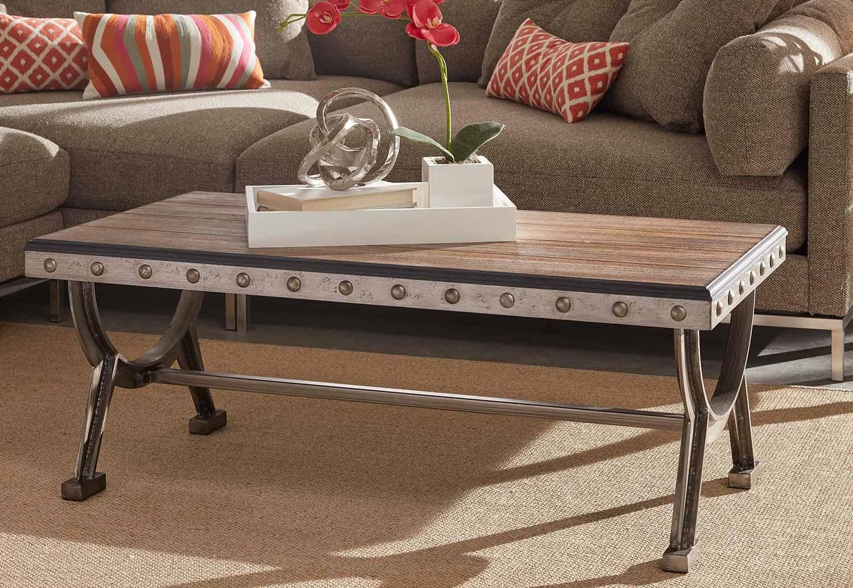 Hillsdale Paddock Coffee Table Brushed Steel Metal