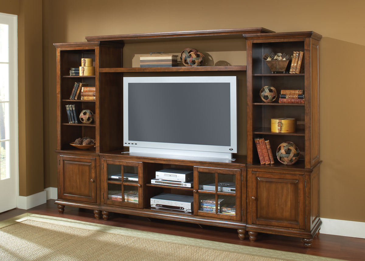 hillsdale grand bay large entertainment wall unit warm brown hd