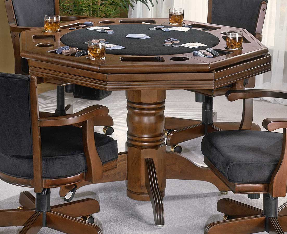 Pedestal game table set w adjustable arm chairs naussau for Dining room game table