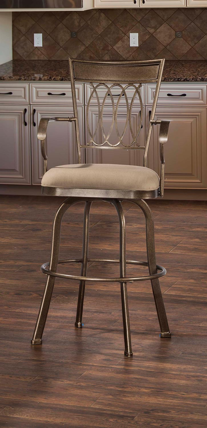Hillsdale Delk Indoor Outdoor Swivel Bar Stool Gold