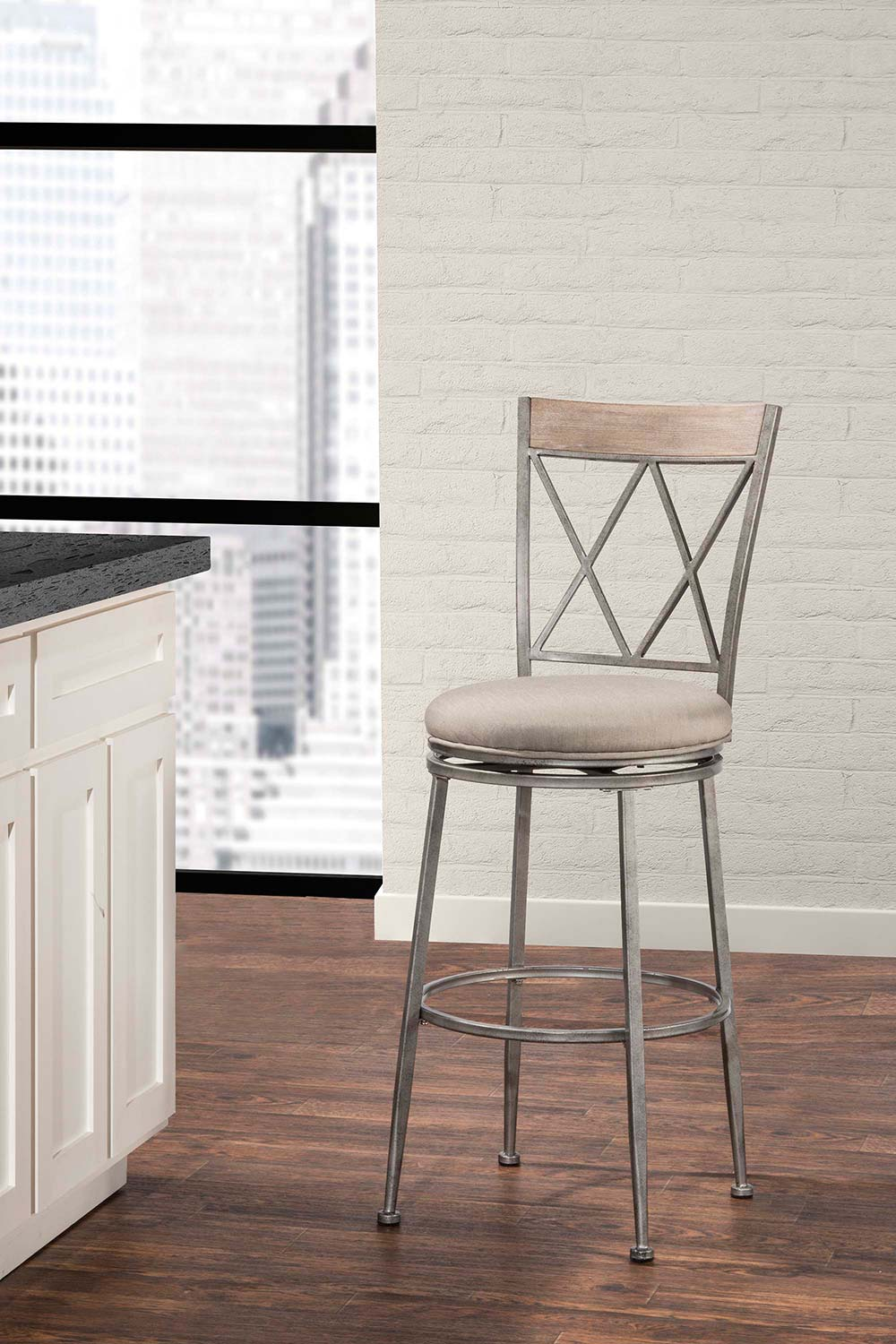 Hillsdale Stewart Indoor/Outdoor Swivel Counter Stool - Aged Pewter