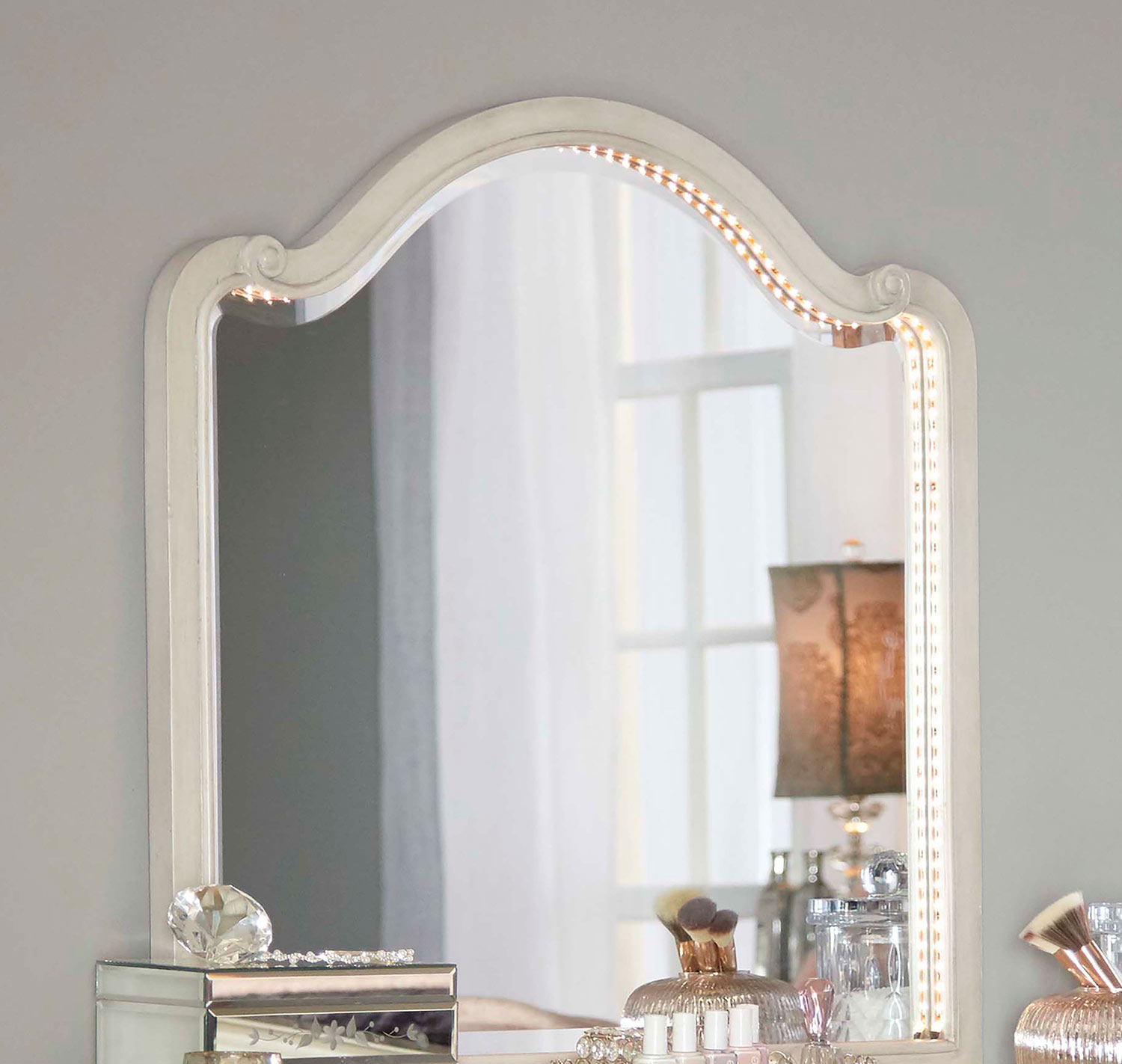 NE Kids Angela Wood Arc Lighted Vanity Mirror - Opal Grey