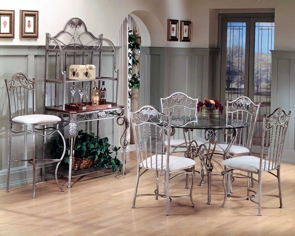 Hillsdale Bordeaux Round Dining Table With Glass Top Hd