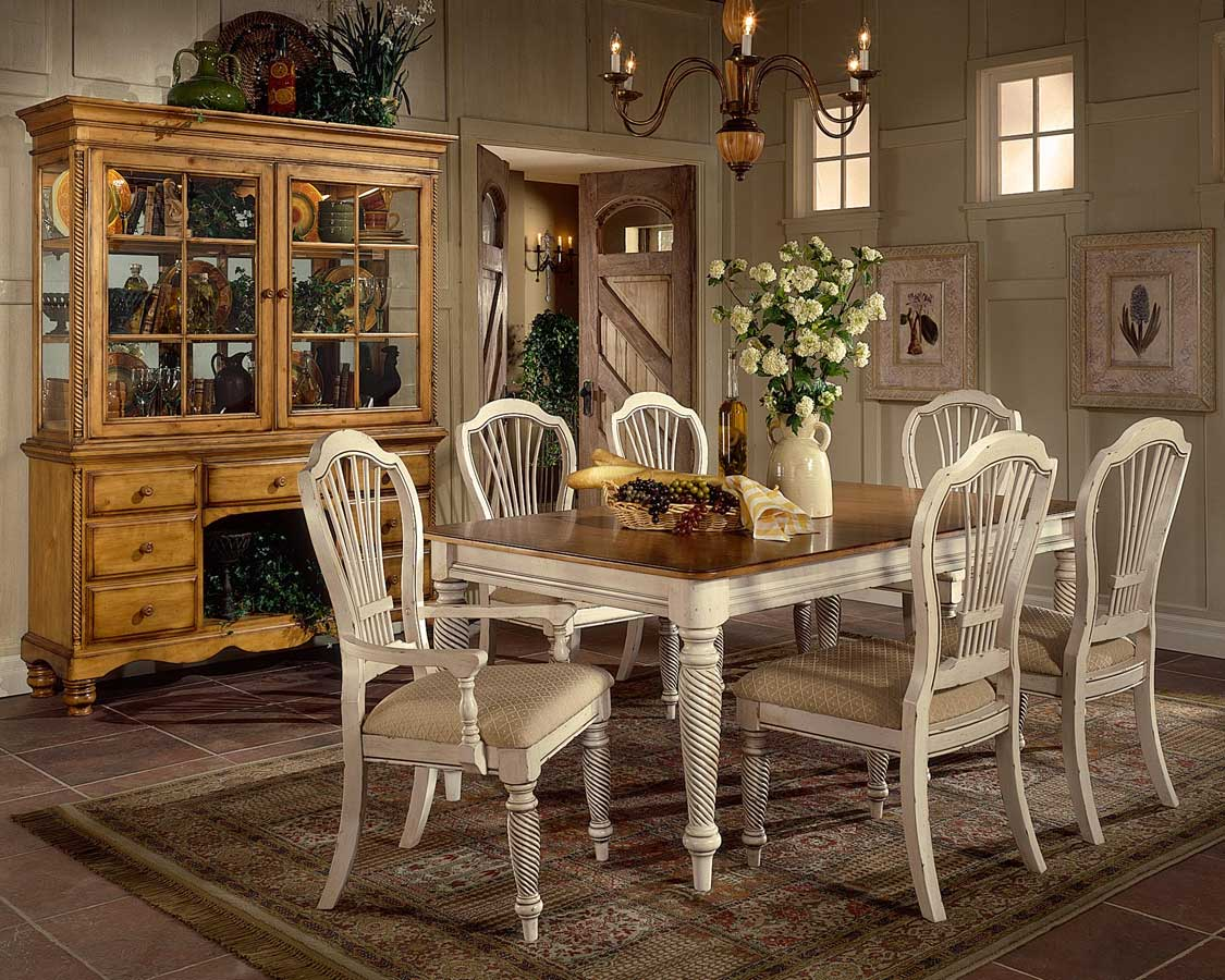 Hillsdale wilshire rectangular dining collection antique for Dining room paintings sale