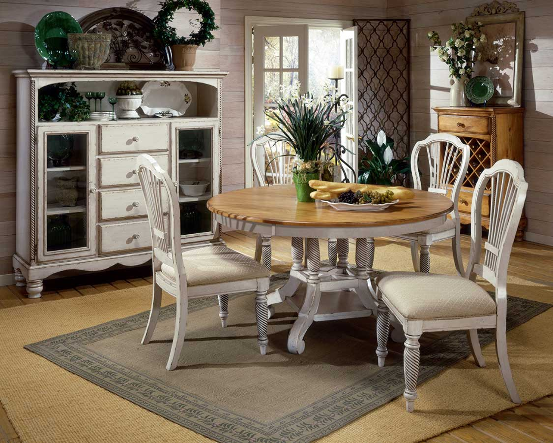 Hillsdale Wilshire Round Oval Dining Table - Antique White